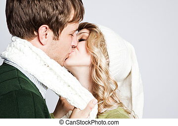 Happy kissing couple - A portrait of a happy kissing...
