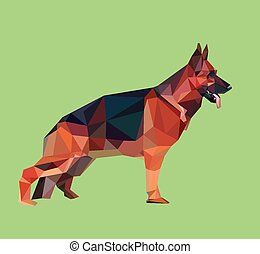 German shepherd low polygon - German shepherd dog with...