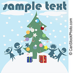 Christmas celebration card, vector art