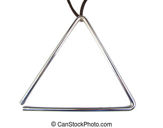 Musical grey triangle instrument on a white background -...