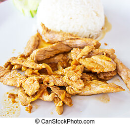 fried meat with boiled rice