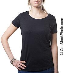girl wearing balck - women wearing plain black shirt...