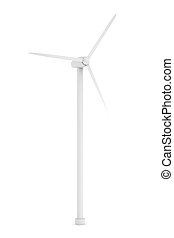 Wind Energy - 3D Illustration. Isolated on white.