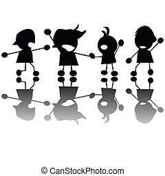 Crying children silhouettes