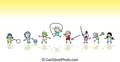 Kids playing in the sun, vector art