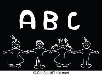 Kids learning alphabet, vector art