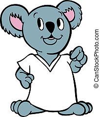 Koala wearing shirt isolated on a white background.