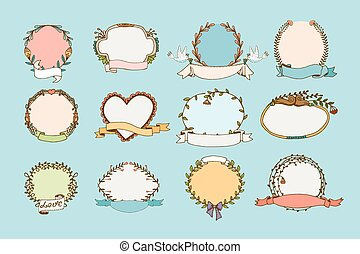 Floral wreaths and heart frames - Floral isolated wreaths...