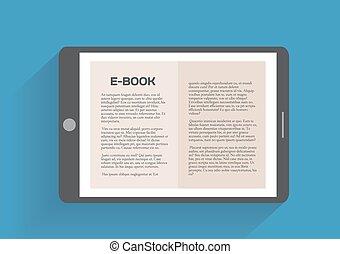 Electronic book, flat design concept Eps 10 vector...