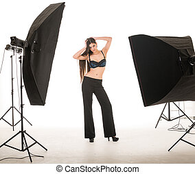 model posing in studio - multi ethinic model posing in...