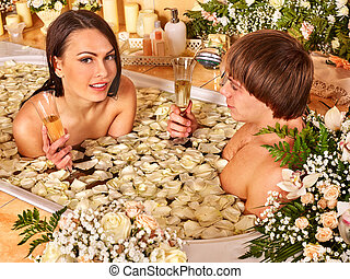 Couple relax  at spa with flower.