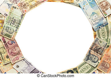 circle of different banknotes isolated on white