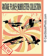 Vintage planes silhouettes collection, vector art...