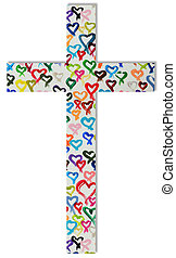 cross - A cross from colorful hearts