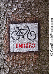Cycle sign on the bark