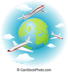 airplanes - Vector illustration - airplanes flying around...