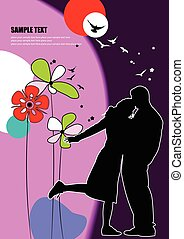 Cover for Valentine`s Day with couple kiss image Vector