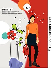 background with young woman image. Vector illustratio