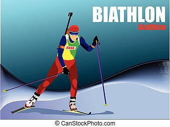 Biathlon runner colored silhouettes. Vector illustration