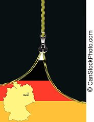 Zipper open flag with place for tex