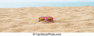 sunglasses - red sunglasses at the beach