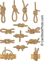 boating knots - Vector illustration - set of boating knots