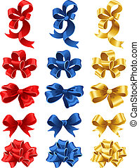 bows - Vector illustration - set of colourful gift bows