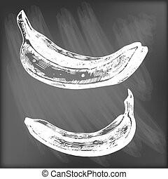 Bananas - Set of 3 hand - drawn bananas on chalkboard...