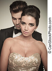 beautiful woman posing together with her husband. - Close up...