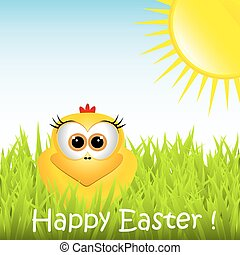 Easter card with funny chicken