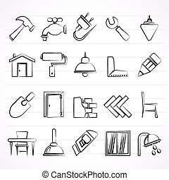 Building and home renovation icons - vector icon set