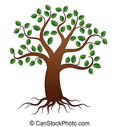 Vector tree with roots - Green tree with roots on white...