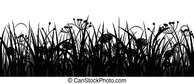 Seamless grass and flowers silhouette - Seamless herbs and...