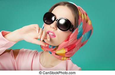 Sixties Style Girl - Sixties style beauty girl wearing silk...