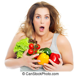 My Healthy Veggies - Happy and excited real woman with fresh...