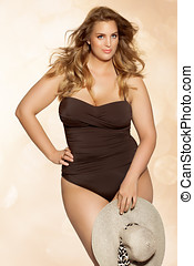 Summer Fashion Plus - Beautiful plus size model wearing...