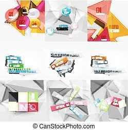 Set of paper graphic infographic modern templates, banners,...