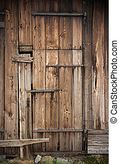 Barn door - Wooden door of old barn Sweden
