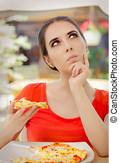 Woman Thinking About Eating Pizza - Beautiful girl Making...