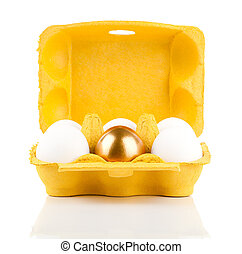 golden egg in the package, concept of Making Money, isolated...