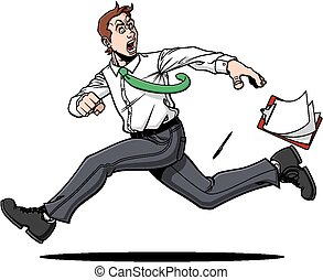 Escaping man - Illustration of scared man who is escaping...