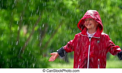 Boy in the Rain - Close up of little boy in raincoat...