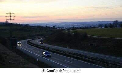 Important German expressway B10 in Eislingen, panoramic...