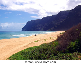 Summer afternoon at Polihale Beach. Westside of Kauai,...