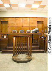court room - Old vintage wooden court room.