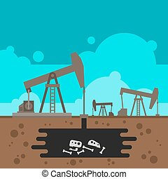 Oil well drilling with fossil underground illustration...
