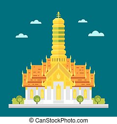 Fabulous temple of Thailand flat design illustration vector