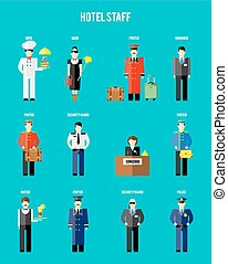 Vector hotel staff. Securityguard and police, receptionist...