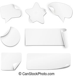 White paper stickers - Realistic white paper stickers in...