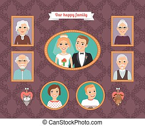 Family portrait. Wall with family photo frames. Husband and...
